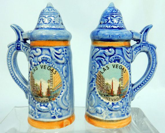 Vintage Ceramic Las Vegas Salt and Pepper Shakers Set Blue Steins Dinnerware  sc 1 st  Pinterest & Vintage Ceramic Las Vegas Salt and Pepper Shakers Set Blue Steins ...