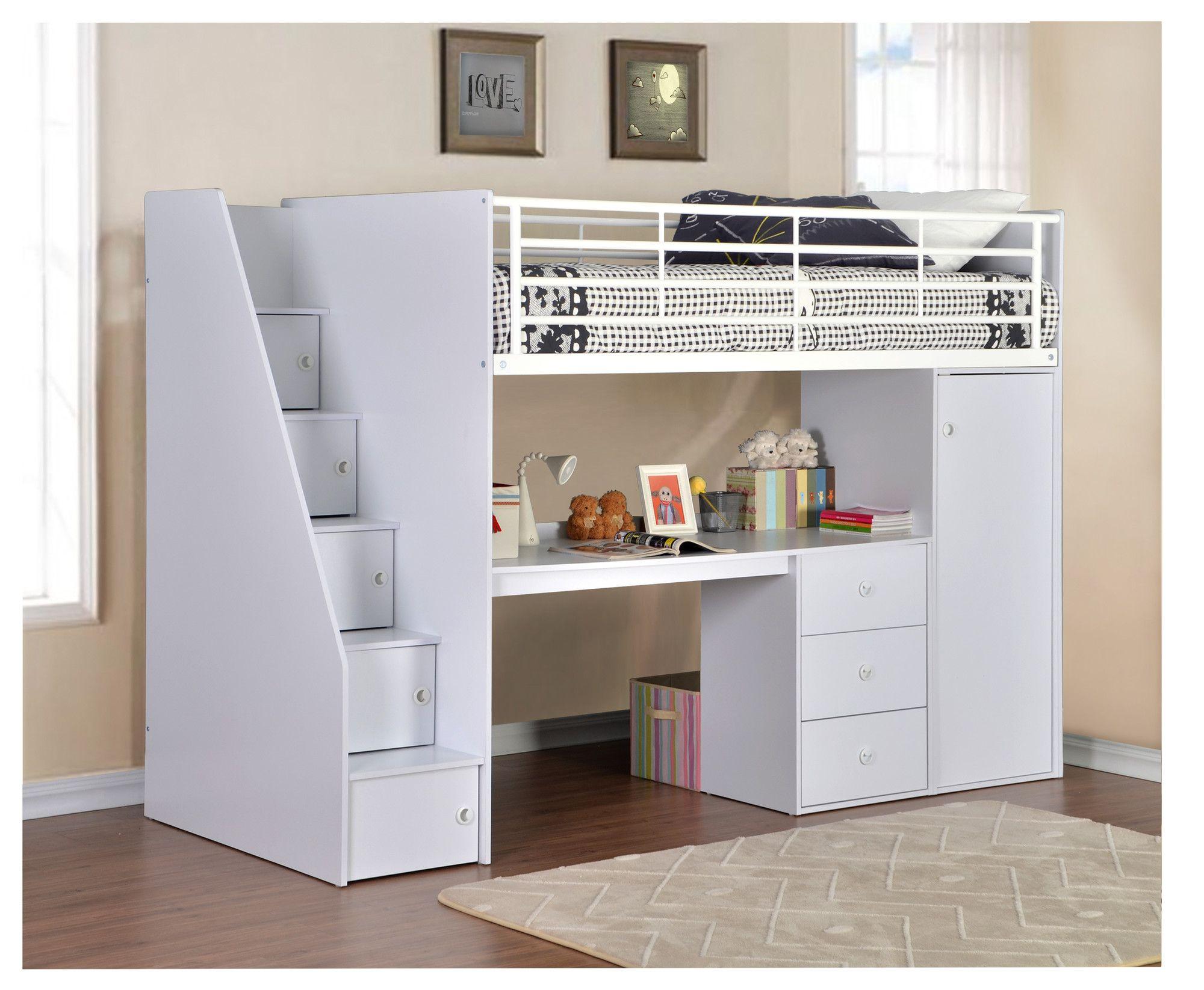 High sleeper loft style cabin bed with hideaway futon bed rutland - Flintshire Furniture Dakota Single High Sleeper Bed With Workstation Reviews Wayfair Co