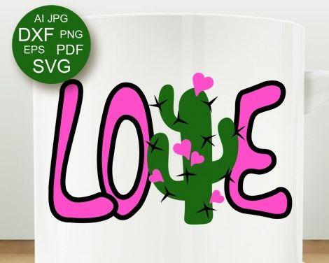 Download Love svg Valentine day decor Cactus clipart Hearts ...