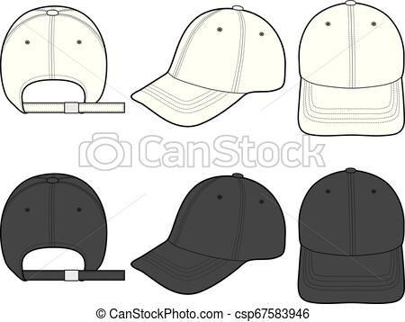 e35eee4dd4f Baseball Cap fashion flat sketch template Vector - stock illustration