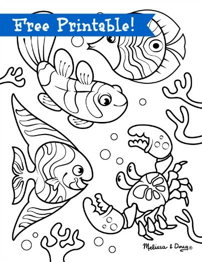 Underwater Scene Printables Hors Of Fun With Children Via Melssa Doug Fish PartyKid PrintablesPrintable Coloring PagesBeach