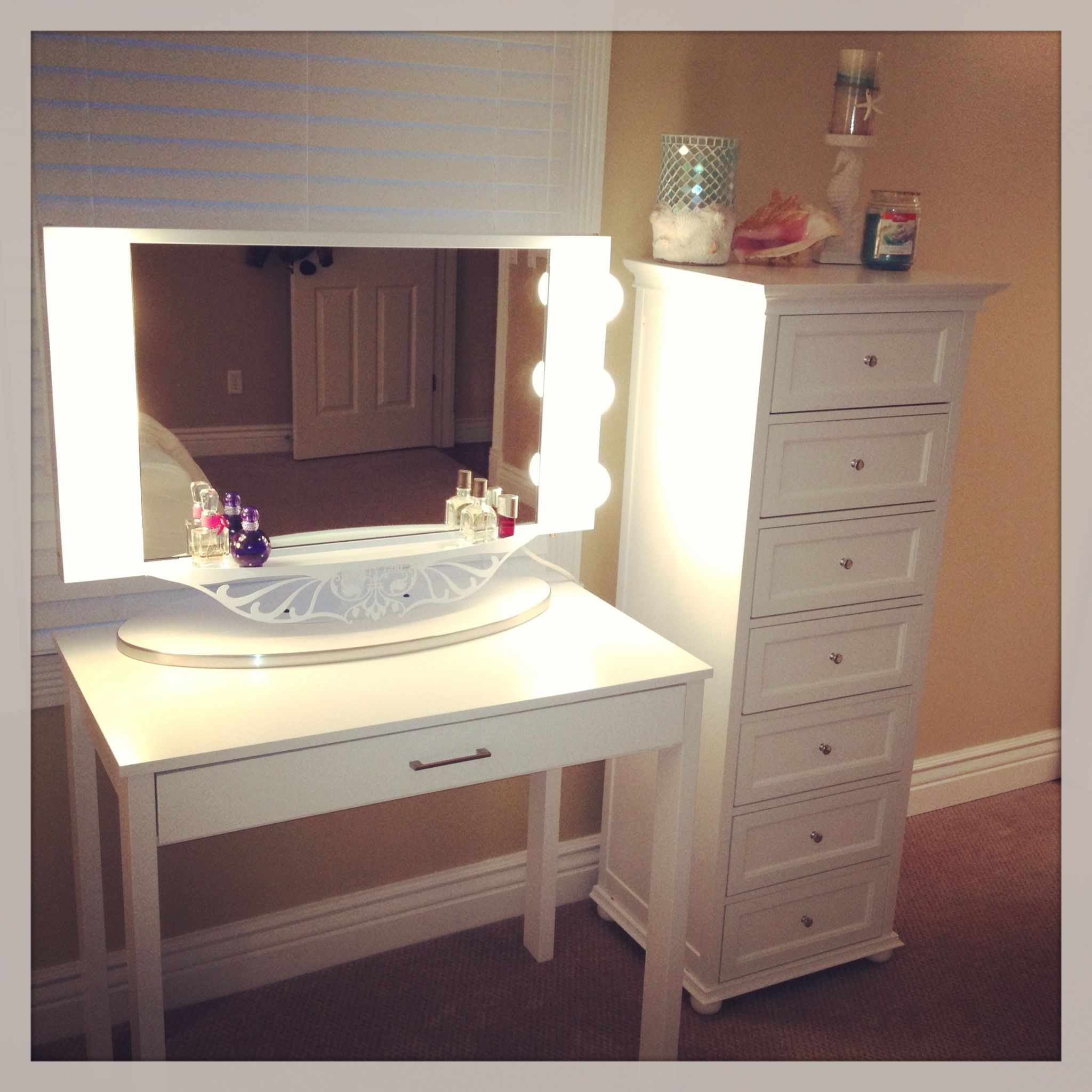 Dressing table designs with full length mirror for girls - Makeup Desk For A Small Area Desk From Target Drawers From Home Decorators Mirror From Vanity Girl Bathroom Mirror Ideas