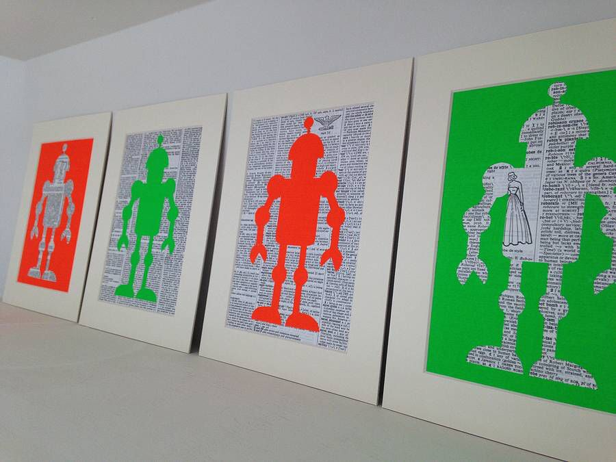 I've just found Neon Robot Paper Cut. Neon robot dictionary art.. £11.00