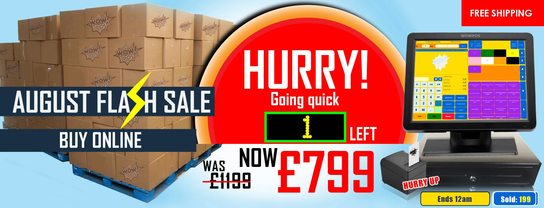 Epos system for Retail or hospitality was at £1199, Now only £799. Going quick 1 Left. It ends today night 12 AM , Hurry up ...http://goo.gl/mDg9aa