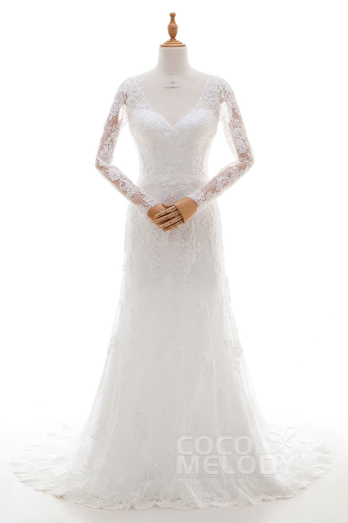 Chic sheathcolumn vneck natural court train tulle and lace ivory