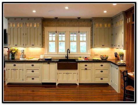 Enchanting craftsman style kitchen cabinets also home for Craftsman style kitchen faucets