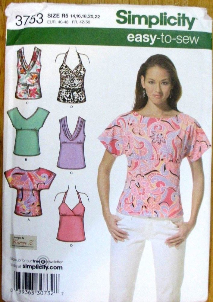 Simplicity Sewing Pattern No3753 Ladies Tops Size 14 22 New