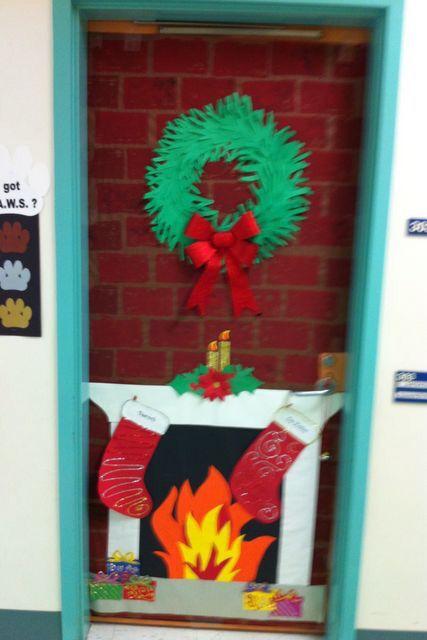 Fireplace Door Dorm Door Decoration Pinterest Christmas