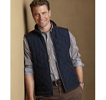 QUILTED VEST , Navy/Brown from Johnston & Murphy | Men's fashion ... : quilted vest navy - Adamdwight.com
