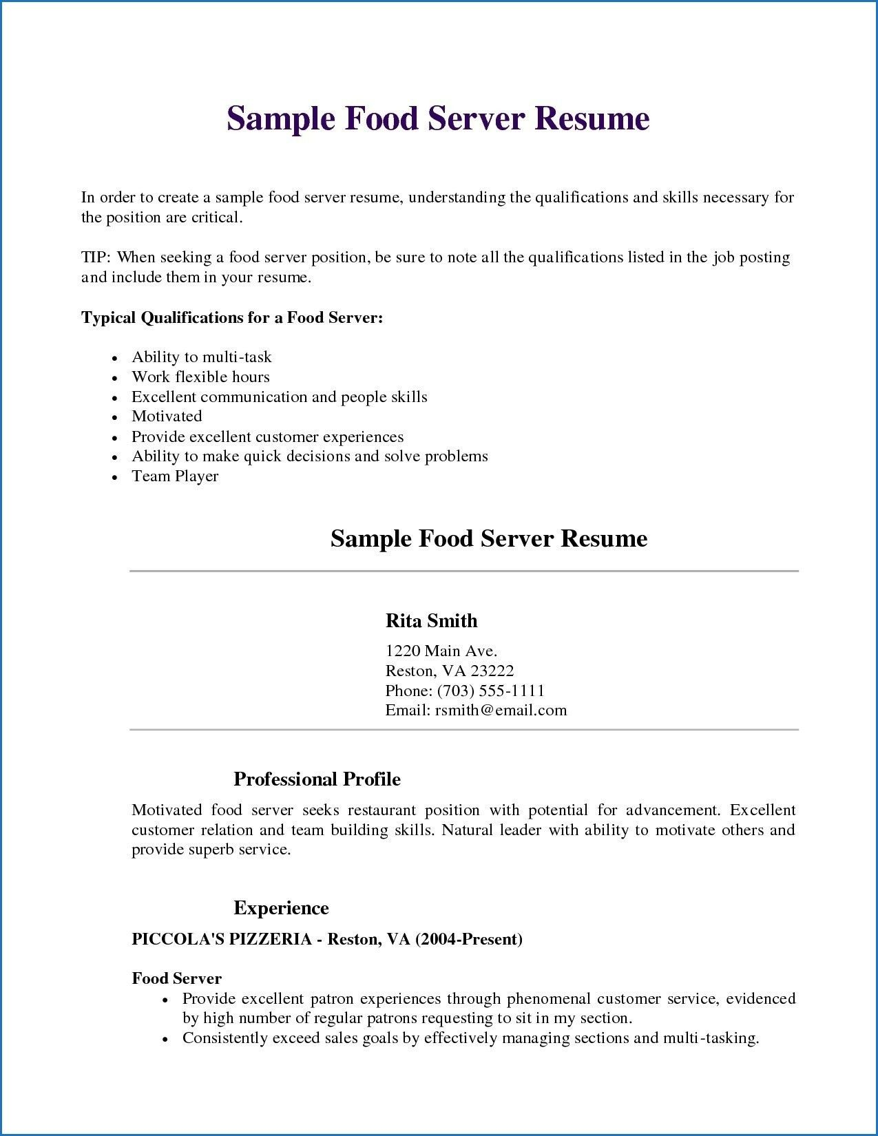 Objectives for A Resume Server, Template, Job