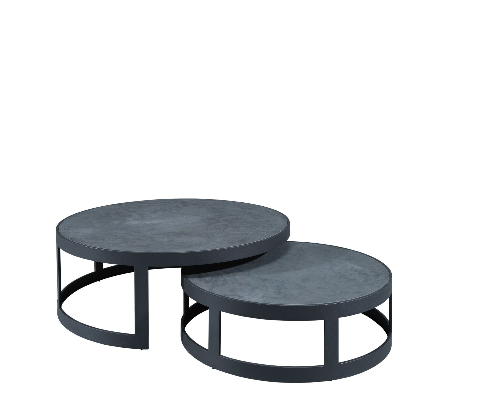 Laskasas | Lua Coffee Table | Set of round center tables with wrought iron structure and slate top. www.laskasas.com