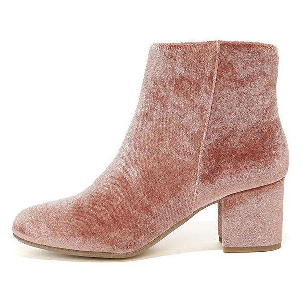 Steve Madden Holster Blush Velvet Ankle Booties ($99) ❤ liked on Polyvore  featuring shoes