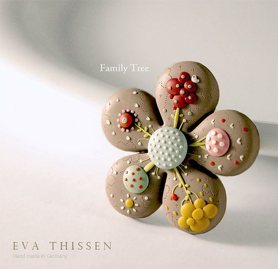 The Family Tree hand made polymer clay brooch. Made by EvaThissen
