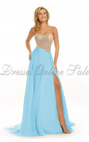 Blue A-line Floor-length Strapless Dress Shop Online - 4p89 - skuchange15