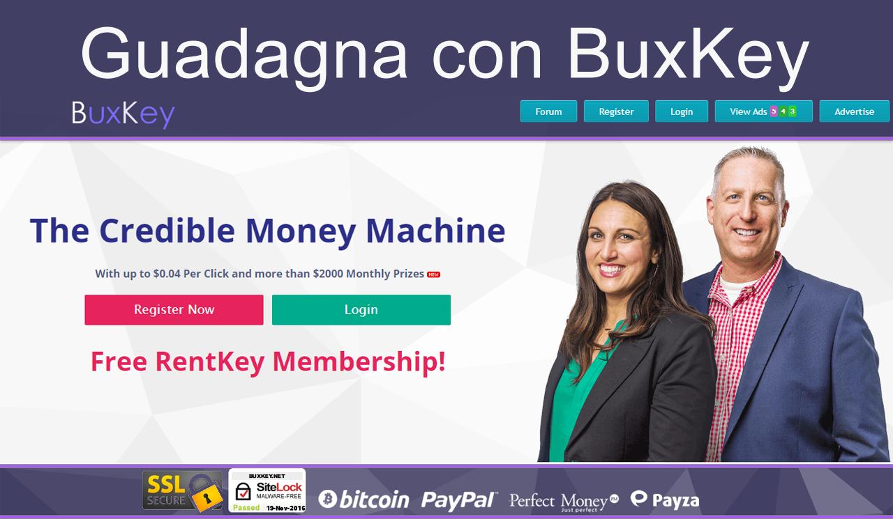 Istruzioni su come usare BuxKey, ottimo sito di guadagno online Probabilmente hai sentito parlare di BuxKey, nuovissima PTC per guadagnare da casa guardando annunci. È di proprietà di una affermata azienda americana e da la possibilità di arrotondare lo stipendio #buxkey #ptc #guadagno #soldi #lavoro
