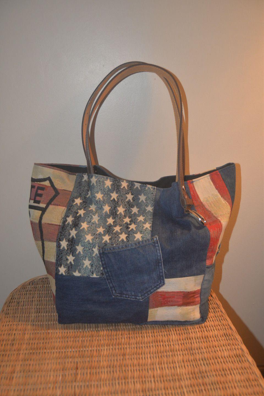 sac cabas en jean recycl sacs main par sl 599 my. Black Bedroom Furniture Sets. Home Design Ideas