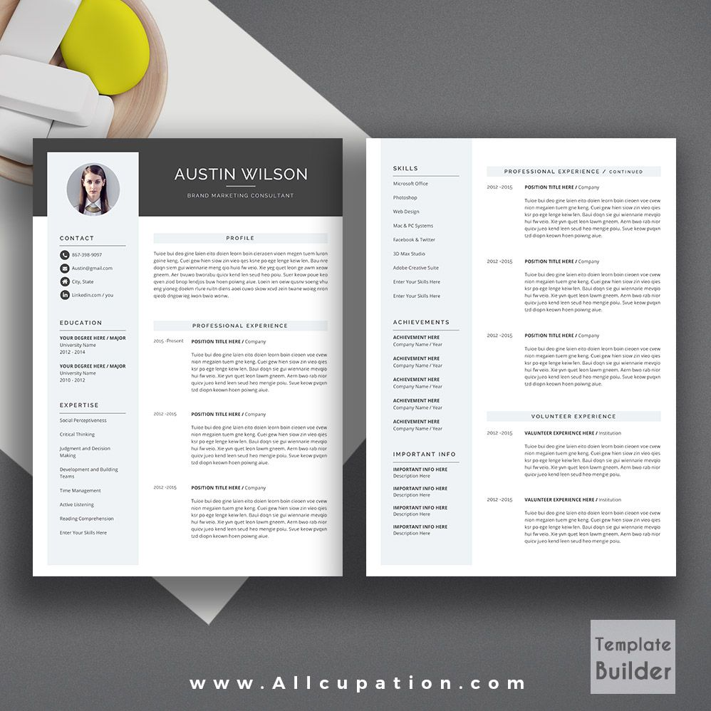 Allcupation Creative Resume Template Modern Cv Template Word