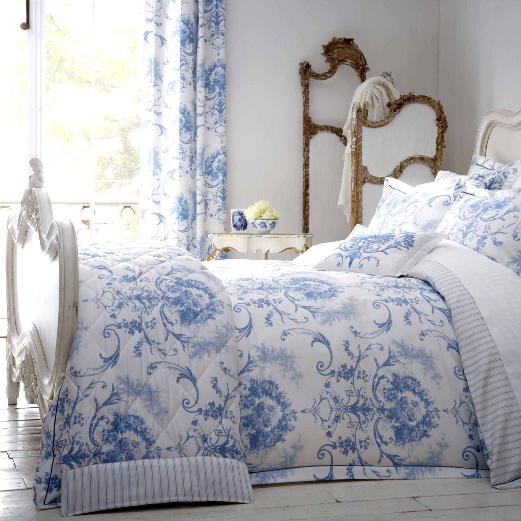 Best Dorma Toile 100 Cotton Blue Duvet Cover Blue Bedding 400 x 300