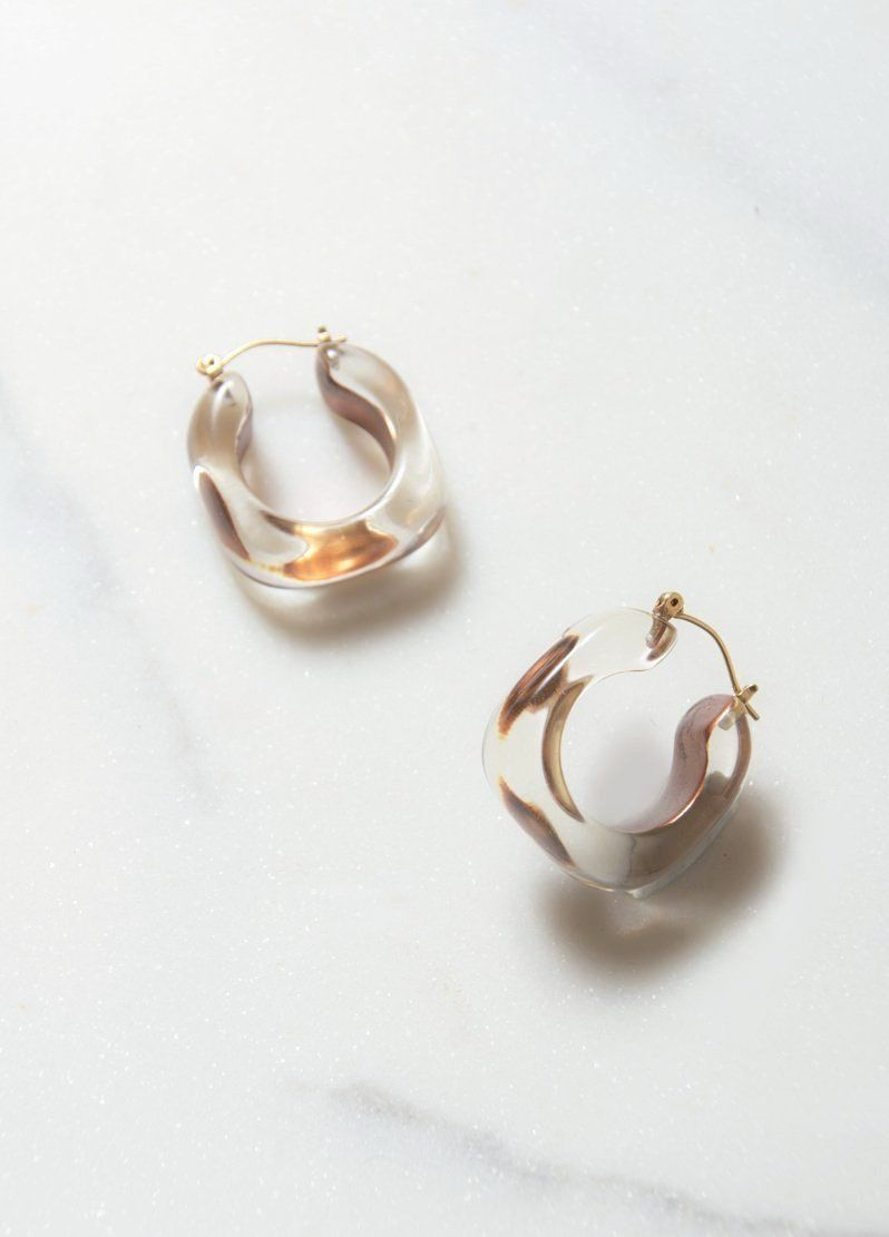 Vintage Clear And Gold Lucite Hoop Earrings From The 1980s Detailed Luxuriously With 14k Push Backing Dimensions 1 X 25