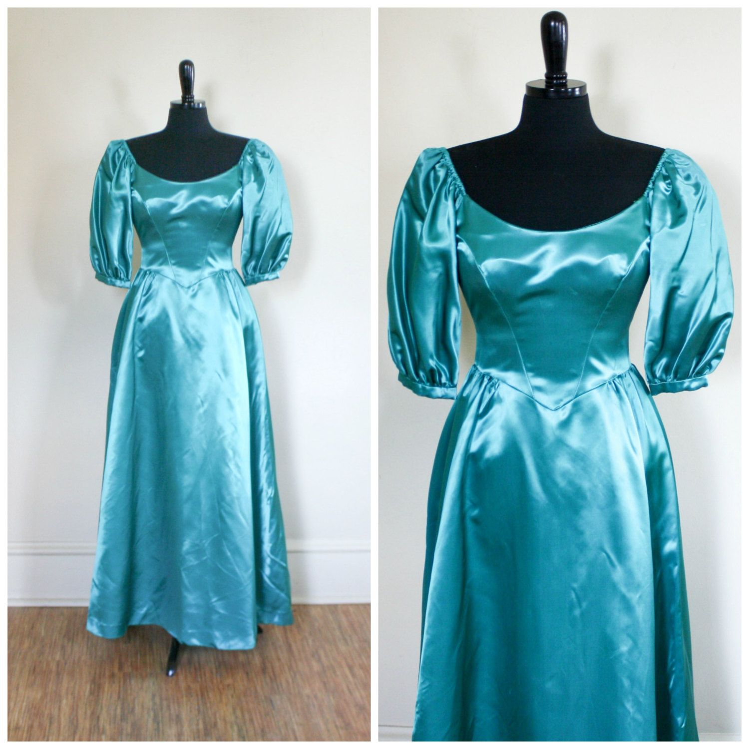 Vintage 1980s Aqua Emerald Green Gown Prom Gown Puff Sleeves ...