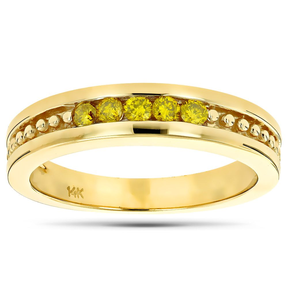 14K Gold Mens Womens Yellow Diamond Wedding Band 5 Stone Anniversary