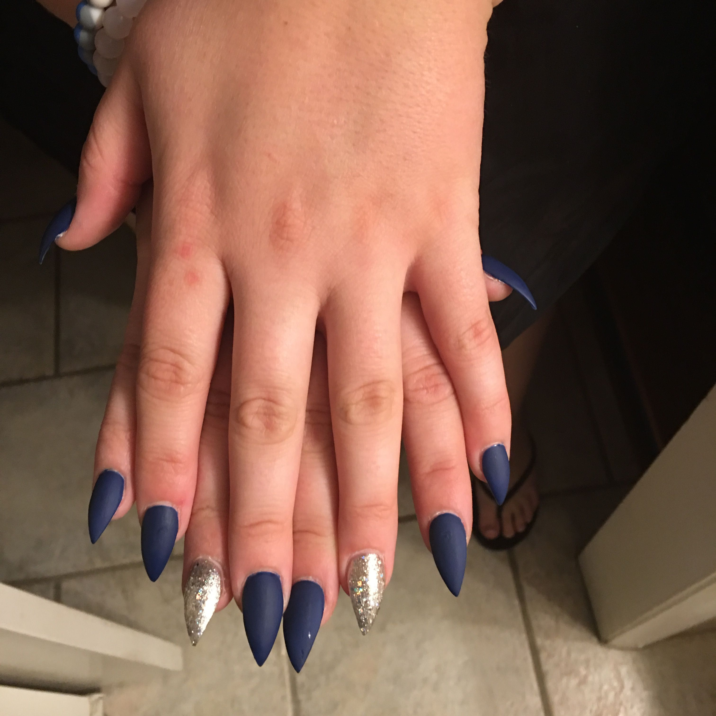 Matte navy blue with silver sparkles stiletto nails.   Nails ...