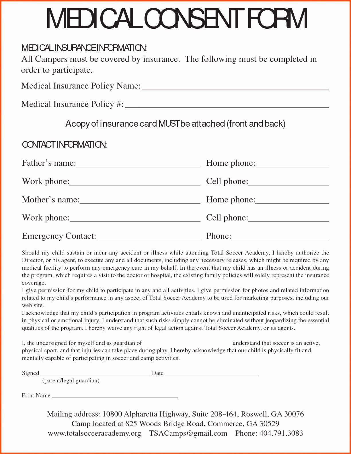 Medical Consent Form Template Free Luxury Medical Consent Letter
