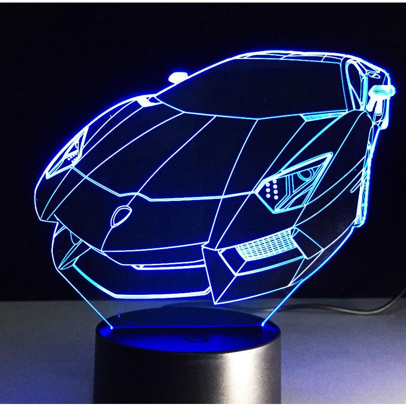 3d Led Night Light Music Colorful Sports Car Roadster Racing Bike With 7 Colors Light Amazing Visualization Optical 3d Led Night Light Led Night Light Lamp