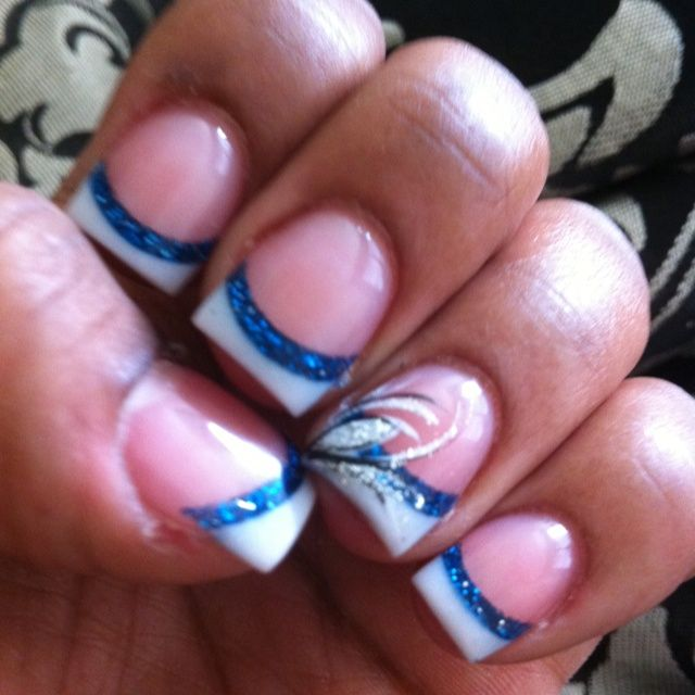 Acrylic nails french tip nail designs for spring nails white tip blue line design prinsesfo Gallery