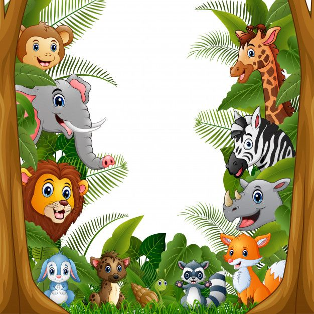 Animals Forest With Blank Sign Bamboo Jungle Theme Birthday Safari Theme Birthday Safari Theme Party