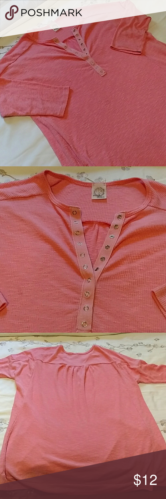 Sun And Moon Henley Tunic Comfy Henly Tunic. This is cute with tights. 3/4 sleeve. Soft and Casual. Sun and Moon Tops Tunics