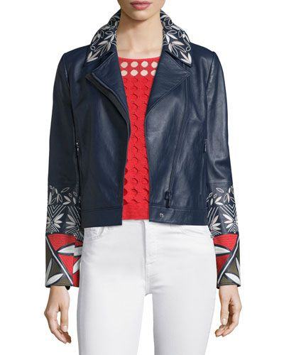 TBFHT Tory Burch Pottery-Embroidered Leather Moto Jacket, Tory Navy