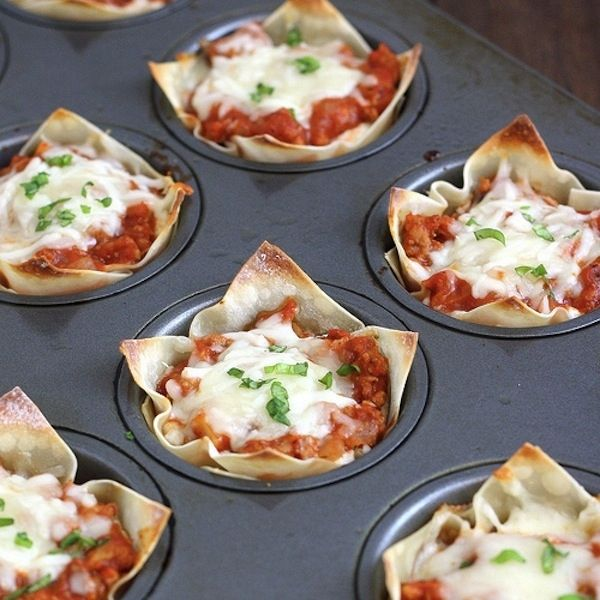 Mini Lasagnas    I should not make this, because then I will eat them all up, which will entice me to make