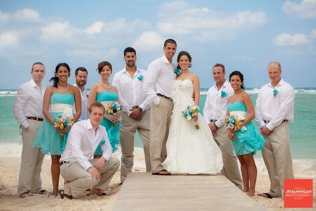 Teal Bridesmaid Dresses And Tan Groomsmen Suits