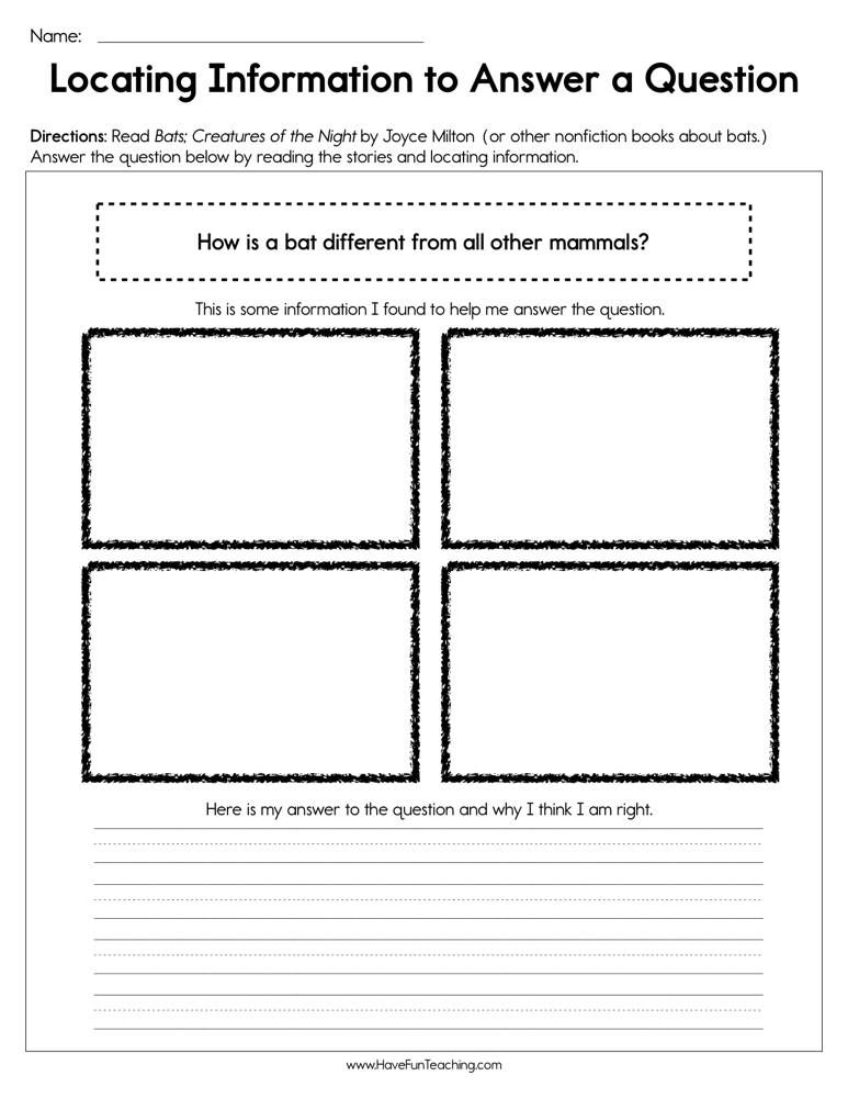 Locating information to answer a question worksheet with