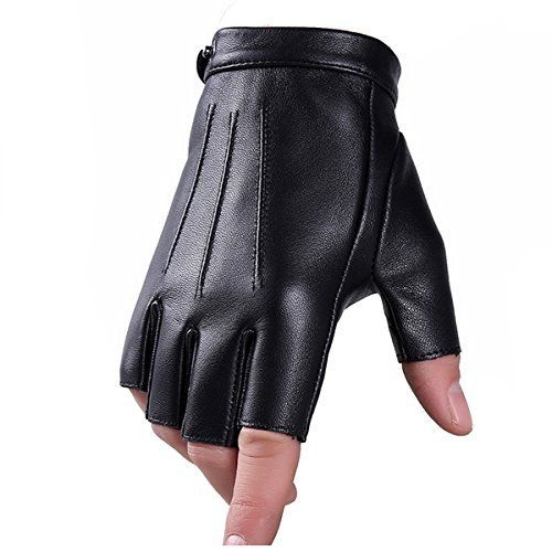 JISEN Men PU leather Punk Half Finger Hollow Out Gloves Gold