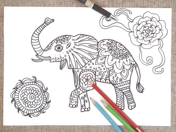 Elephant Coloring Page Adult Animal Totem Yoga Zen Therapy