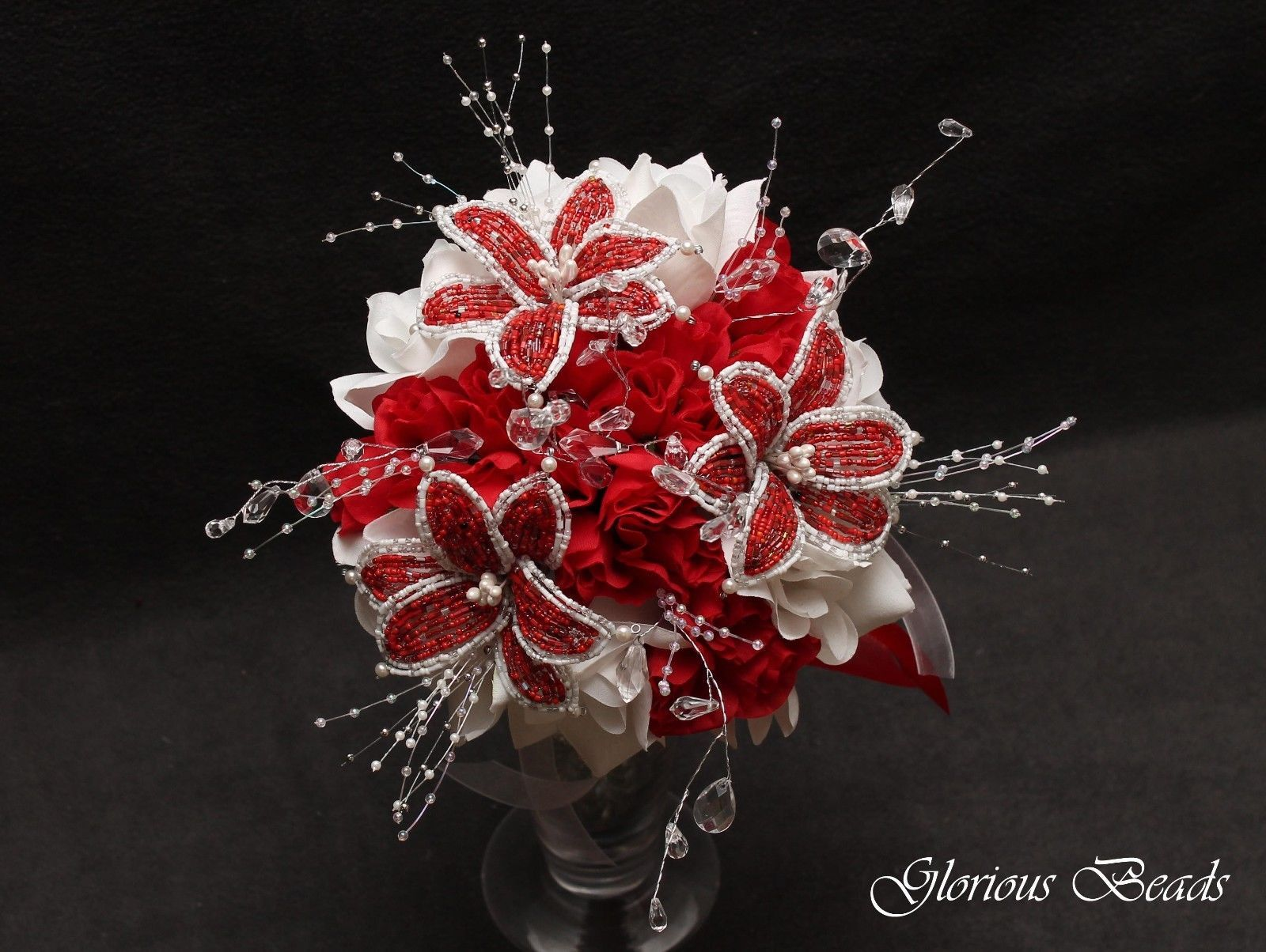 Beaded Lily Wedding Bridal Bouquet You Pick Color Silk