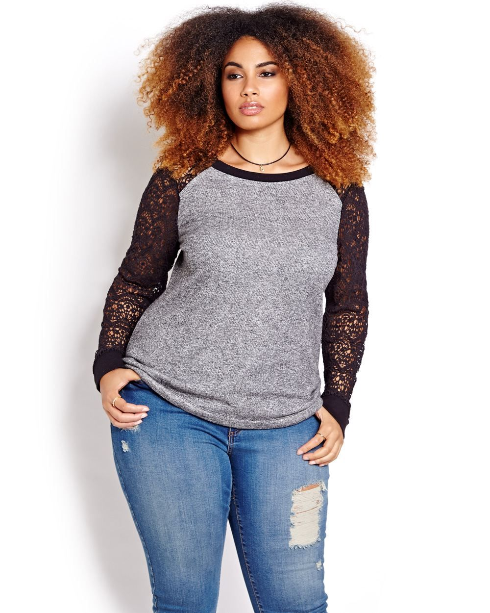 The trendy version of the sweatshirt, here's a plus size sweatshirt from Love & Legend that features a cut and sewn look with long crochet…