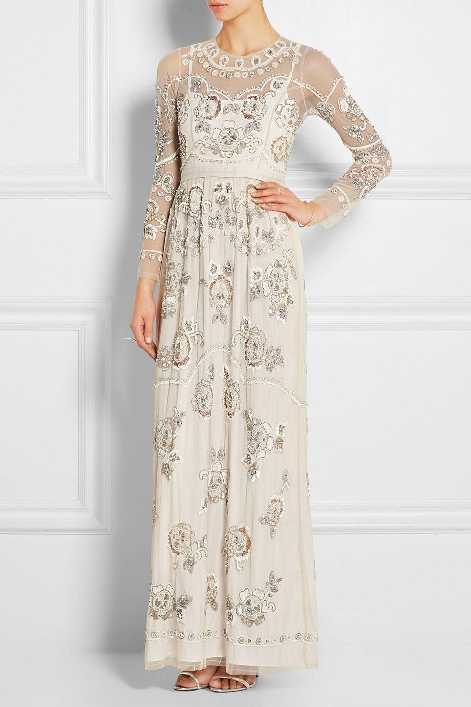 needle u0026 thread garden scatter embellished tulle maxi dress
