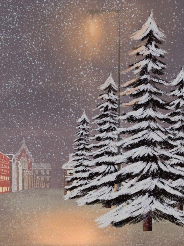 ثلج ثلجي الخلفية صمم Snow Scenes Image Illustration Night Scene