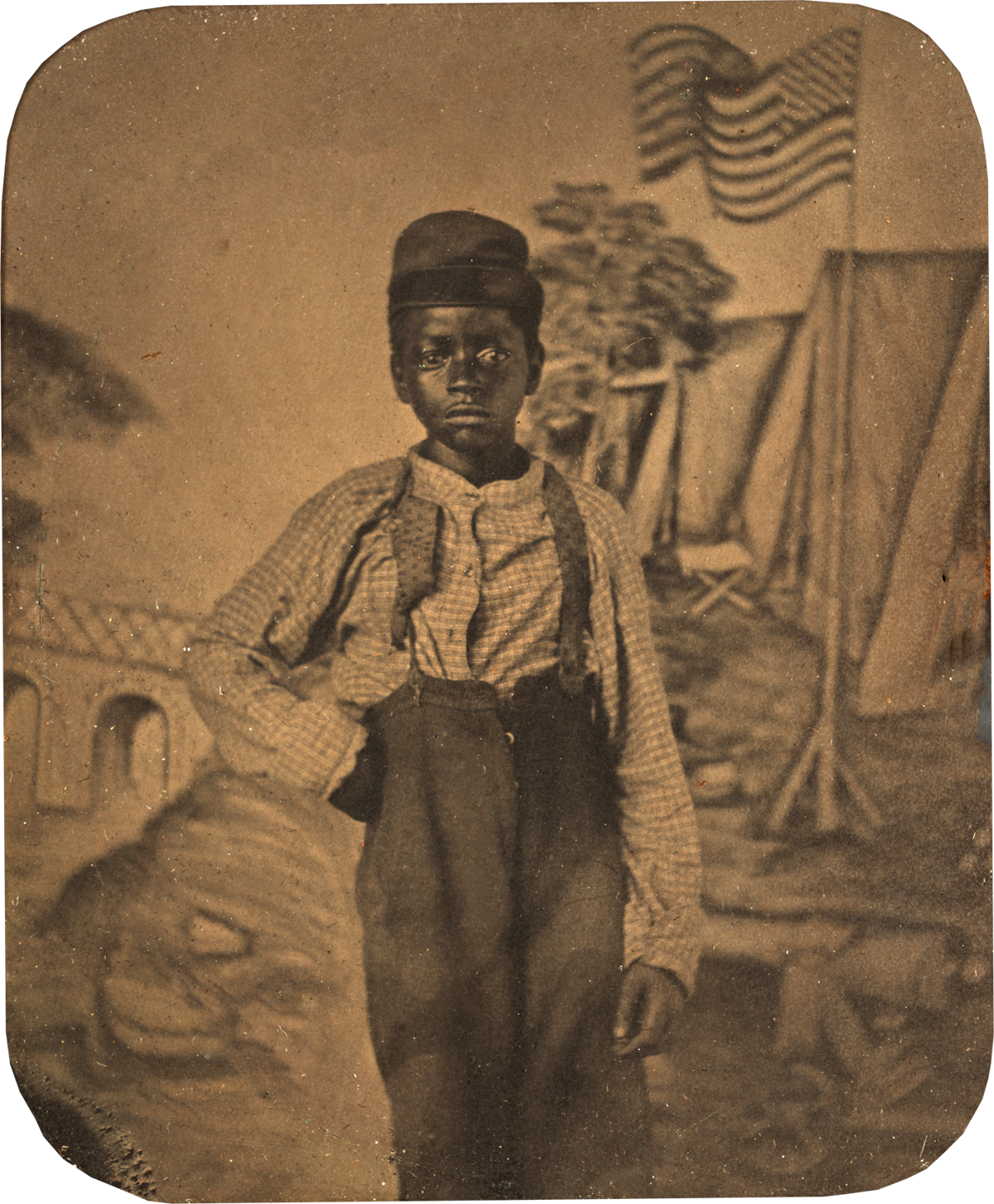 Studio Portrait Of African American Boy With Civil War