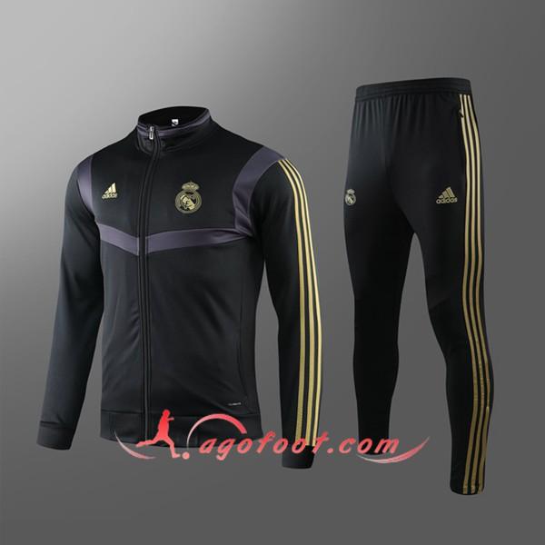 Ensemble Survetement de Foot Veste Real Madrid Noir Jaune