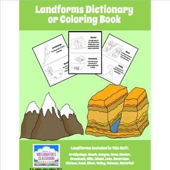 Free Landforms Dictionary Or Coloring Book Homeschool Social Studies Social Studies Resources Social Studies Activities