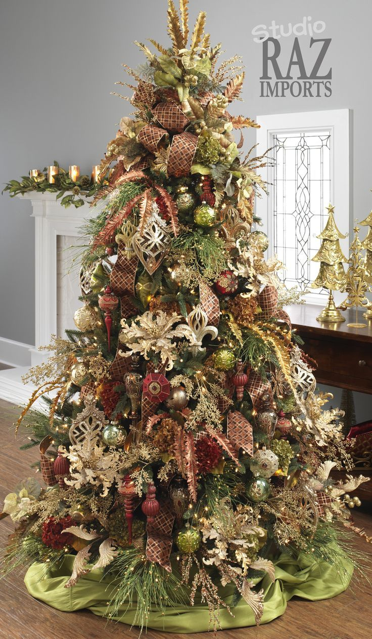 Decorated Christmas Tree Ideas Part - 18: RAZ Christmas Tree In Burgundy, Moss Green And Gold! Love The Silk Flowers  On This Elegant Tree!