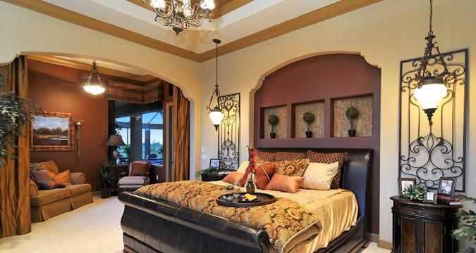 Rich colored bedroom