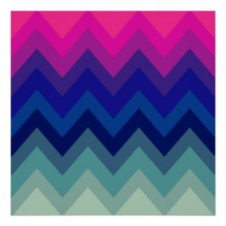 Trendy Bright Pink Teal Ombre Chevron