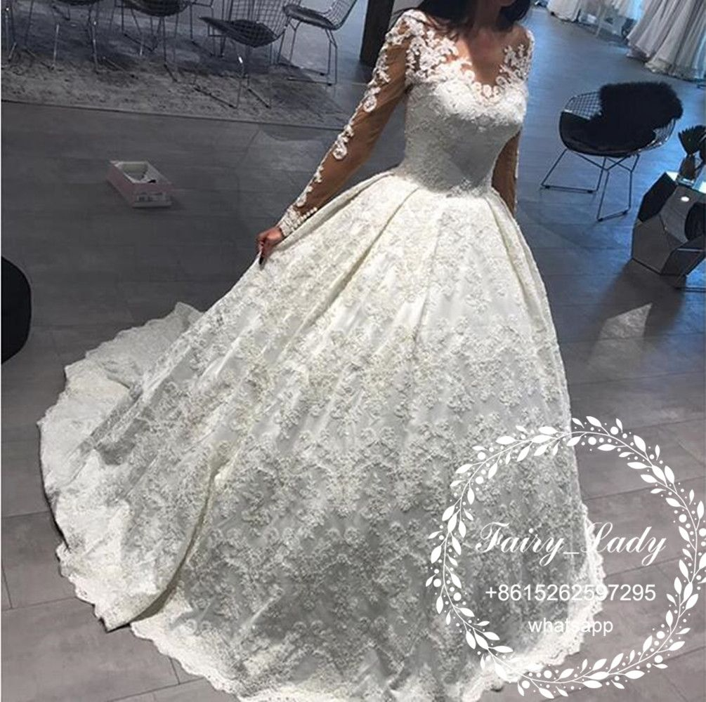 4c915275d5 Gorgeous Lace Wedding Dresses 2018 Long Sleeves Puffy A Line Sheer Long  Sleeves 3D-Floral Appliques V Neck White Bridal Dress For Women