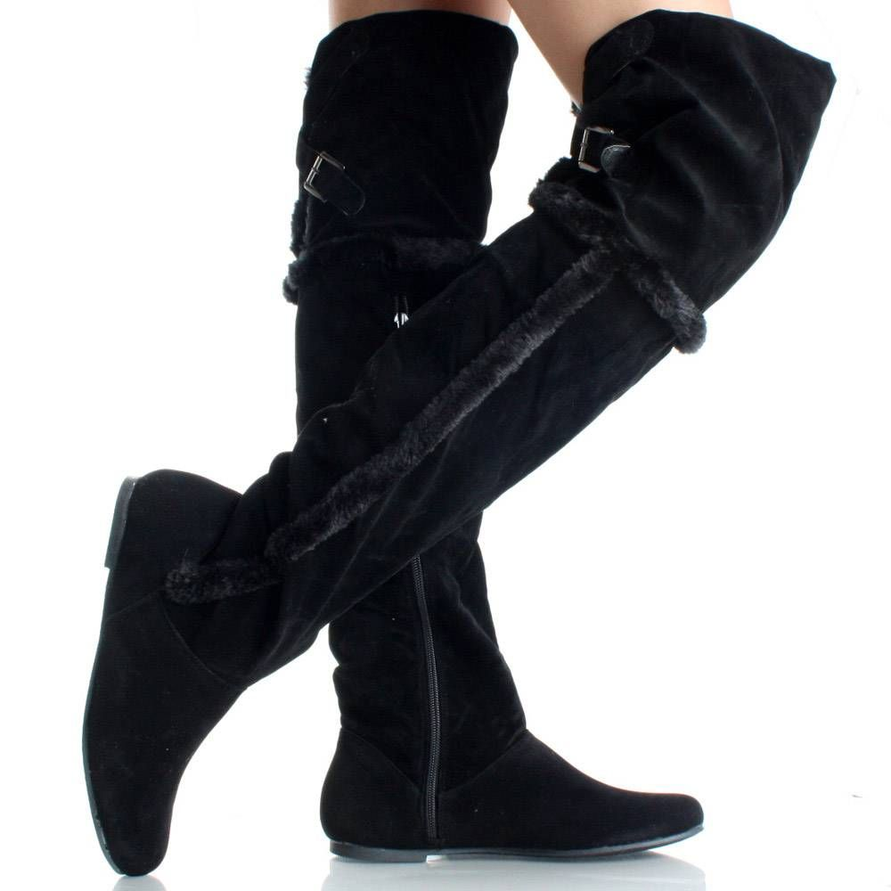 Flat Thigh High Boots Winter Over The Knee Black Faux Suede Fur ...