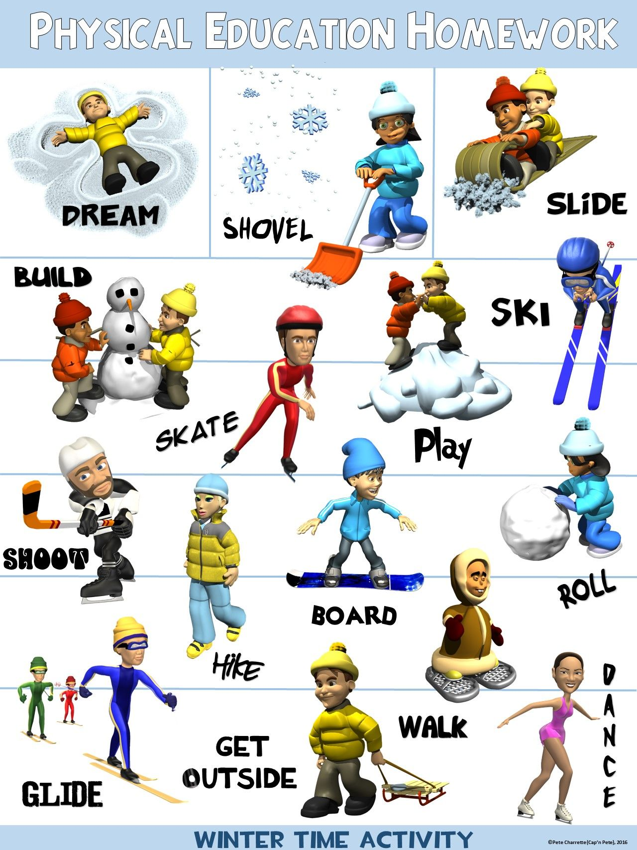 Pe Poster Physical Education Homework Winter Version With